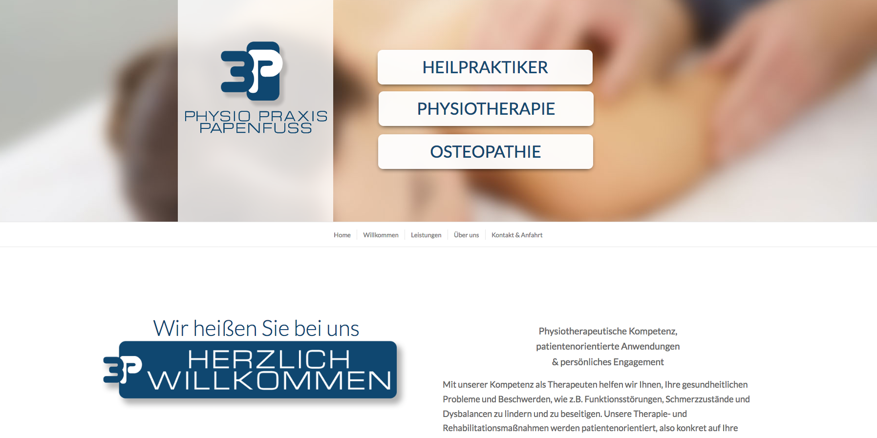 3P Physio Praxis Papenfuss Websitekopf