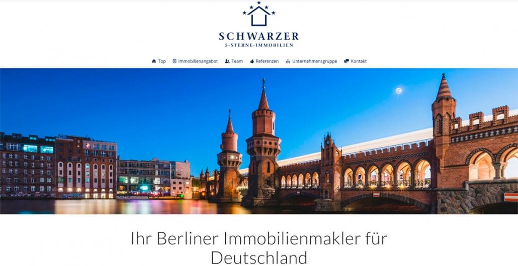 SCHWARZER 5 Sterne Immobilien Websitekopf